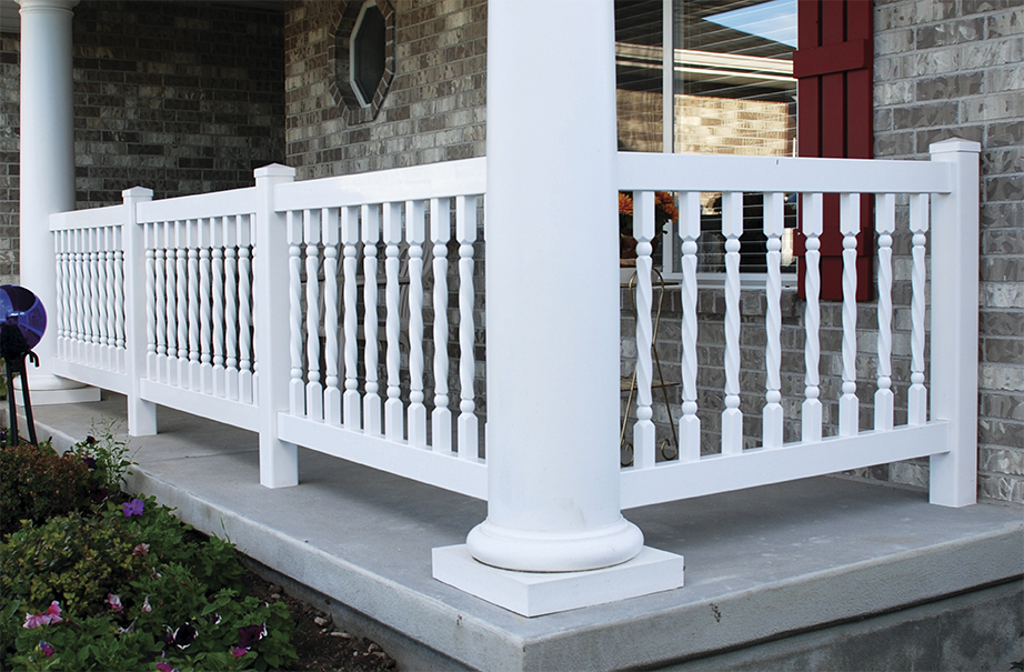 white vinyl balusters on a porch
