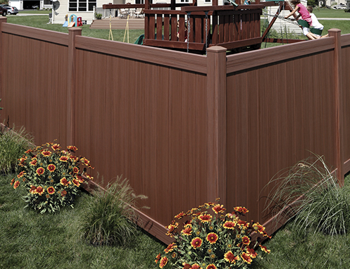 Chesterfield textured vinyl fence in brown