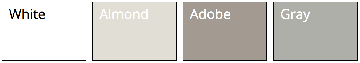 Classic Vinyl fence colors: white, almond, adobe, and grey
