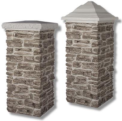 faux rock pillar cap types: pyramid and flat