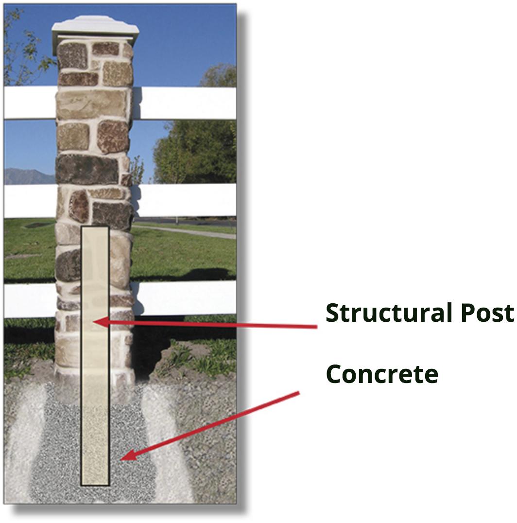 fake rock pillar installation