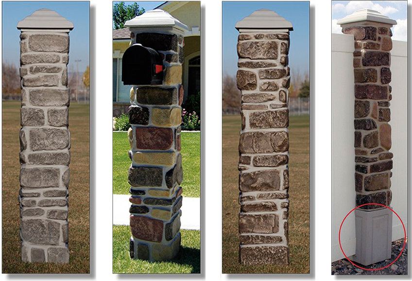 faux rock piliers for fences examples