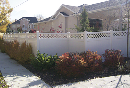 white vinyl Privacy Fence with Accent Top