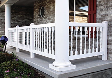 vinyl railing kit for a railing around a porch