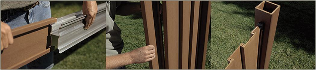 Trex composite fence panel construction