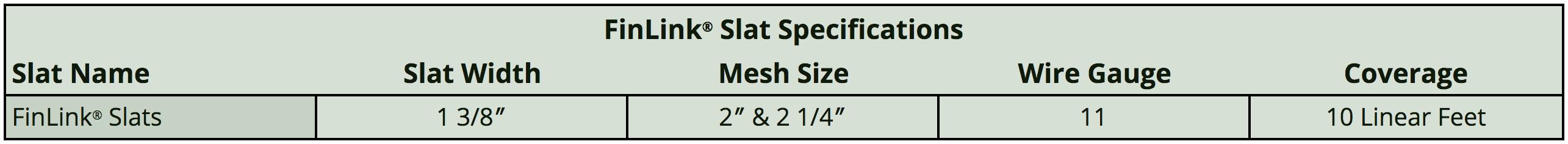 finlink slat specifications