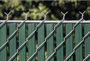 green chain link fence slats