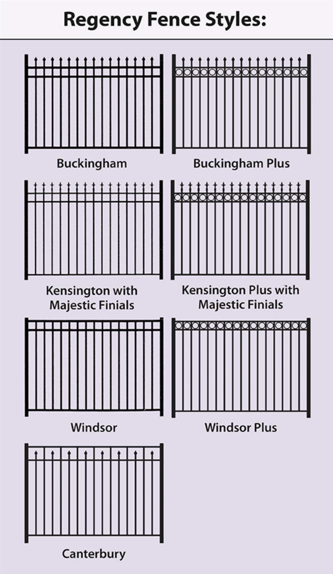 regency aluminum fence style options
