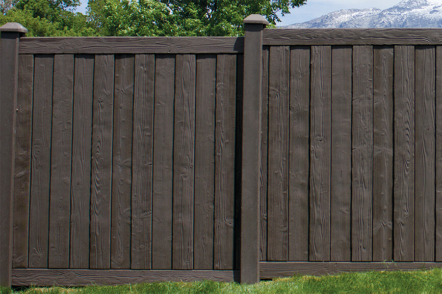 Sherwood Simulated Wood Fence in Walnut Brown