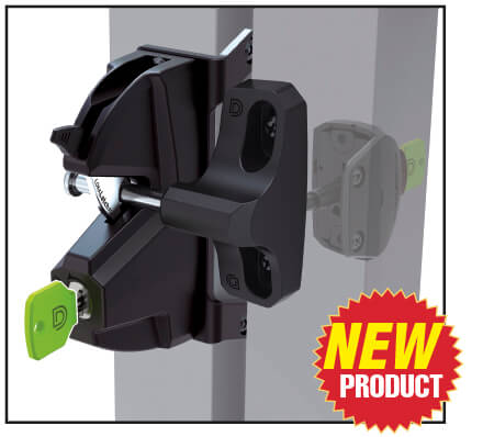 Round Post Gravity Latch with key lock for chain link fences