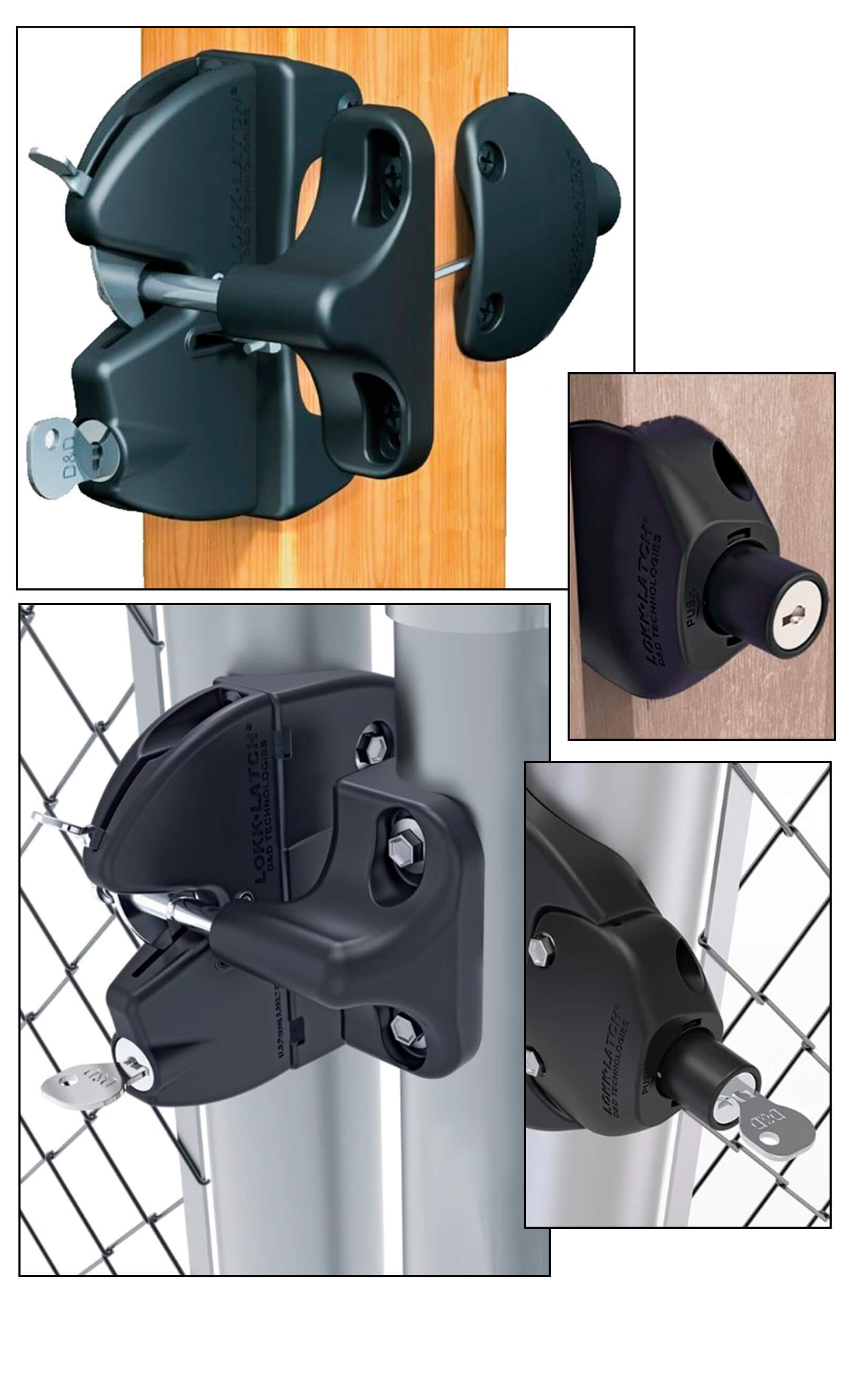 lokklatch chain link fence latch with a double sided lock and key function